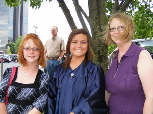 My daughters and me at Jodi's (first) college graduation